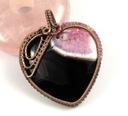 Agat, miedziany wisior z agatem różowo czarnym