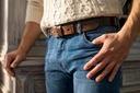 Skórzany pasek męski do spodni BETLEWSKI 110 Wzór dominujący bez wzoru