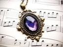 Naszyjnik w stylu wiktoriańskim, fioletowy kosmos Kolor dominujący fioletowy