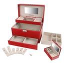 Kuferek na biżuterię czerwony szkatułka glamour Cechy lusterko miejsce na kolczyki miejsce na pierścionki szuflady wielopoziomowa zamykane na kluczyk