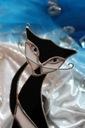Kot czarno biały witraż wiszący, Tiffany prezent Kolor czerń