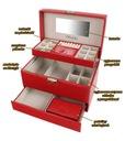 Kuferek na biżuterię czerwony szkatułka glamour Głębokość 20 cm