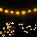 Girlanda Solarna 20 LED Lampki Ogrodowe Kule 5M Barwa światła ciepła biała