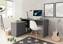 Biurko narożne komputerowe duże Szare Białe TOD Kolor mebla Grafit