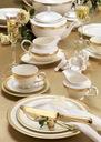 VILLA ITALIA RARITA GOLD Serwis obiadowy na 12 os Zawartość zestawu Talerz obiadowy Talerz głęboki Talerz deserowy Sosjerka Waza