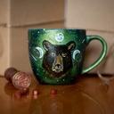 Kubek malowany niedźwiedź - Prezent Kolor odcienie zieleni