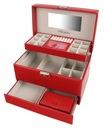 Kuferek na biżuterię czerwony szkatułka glamour Materiał skóra ekologiczna