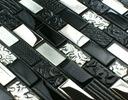 Мозаика стеклянная черно-серебристое Вулкан Кирпич 2
