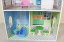 Wysoki drewniany domek dla lalek + mebelki ECOTOYS Wysokość produktu 93 cm
