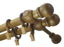 Karnisz drewniany fi 28 BRĄZ WENGE podwójny 2,2 m Waga (z opakowaniem) 1 kg