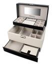 KUFEREK NA BIŻUTERIĘ szkatułka GLAMOUR na święta Cechy lusterko miejsce na kolczyki miejsce na pierścionki szuflady wielopoziomowa