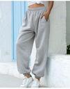 Spodnie dresowe BAGGY DAMSKIE wysoki stan szare M Wzór dominujący bez wzoru