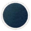 DYWAN BOHO shaggy frędzle koło 120 granat #GR4014 Kolor biały kremowy odcienie niebieskiego