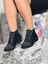 Granatowe botki zdobione Shoe Size 40 Kolor Granat Materiał zewnętrzny skóra ekologiczna zamszowa
