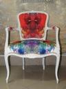 fotel ludwik w bieli z kolorową teksturą Typ mebla stylowy (oryginalny)