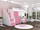 Łóżko piętrowe ZUZIA PLUS materace schodki biurko Szerokość 130 cm