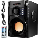 GŁOŚNIK BEZPRZEWODOWY 350W DREWNO RADIO FM BOOMBOX Kolor czarny