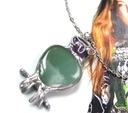 Prezent handmade naszyjnik wisiorek sowa awenturyn Kolor dominujący odcienie zieleni