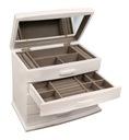 Szkatułka na biżuterię kuferek komoda biała drewno Szerokość 28 cm