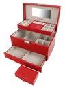 Kuferek na biżuterię czerwony szkatułka glamour Szerokość 31 cm