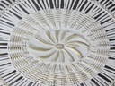 Stolik Ława z rafią i szklanym blatem krem złocona Kształt blatu Prostokątny