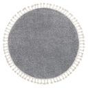 DYWAN BOHO shaggy frędzle koło 120 szary #GR4013 Kolor biały kremowy odcienie szarości