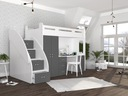Łóżko piętrowe ZUZIA PLUS materace schodki biurko Długość 206 cm