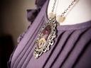 Naszyjnik w stylu steampunk, żywica, fioletowy Kamień Bez kamienia