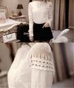 Elegancka biała bluzka koszulowa koronka haft XXXL Wzór dominujący inny wzór