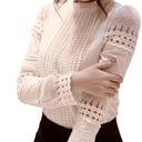 Elegancka biała bluzka koszulowa koronka haft XXXL