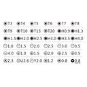 ZESTAW WKRĘTAKÓW TORX PENTALOBE 0,8 1,2 JM8151 38x Liczba elementów w zestawie 38