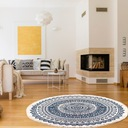 Okrągły dywan w etniczne wzory z frędzlami 90 cm Długość 90 cm