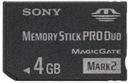 SanDisk SONY MEMORY STICK Pro DUO 4 gb OKAZJA Obsługiwane karty pamięci Memory Stick (MS)