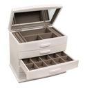 Szkatułka na biżuterię kuferek komoda biała drewno Głębokość 18 cm