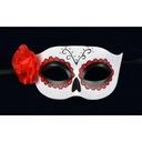 Maska wenecka Dia de Los Muertos z różą Halloween Kolor dominujący biały
