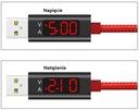 MOCNY KABEL USB TYP C SZYBKI MIERNIK ŁADOWANIA LED Kolor czerwony