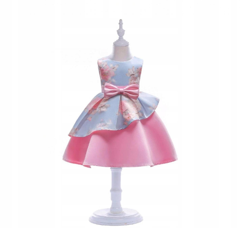 7a298b4a Sukienka elegancka wizytowa róże baskinka r. 134