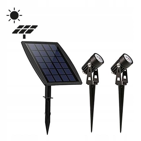Lampa Ogrodowa Reflektor X2 Z Panelem Słonecznym