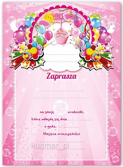 Zaproszenia Na Urodziny Dla Dziewczynki Zx6905 5492360895 Allegropl