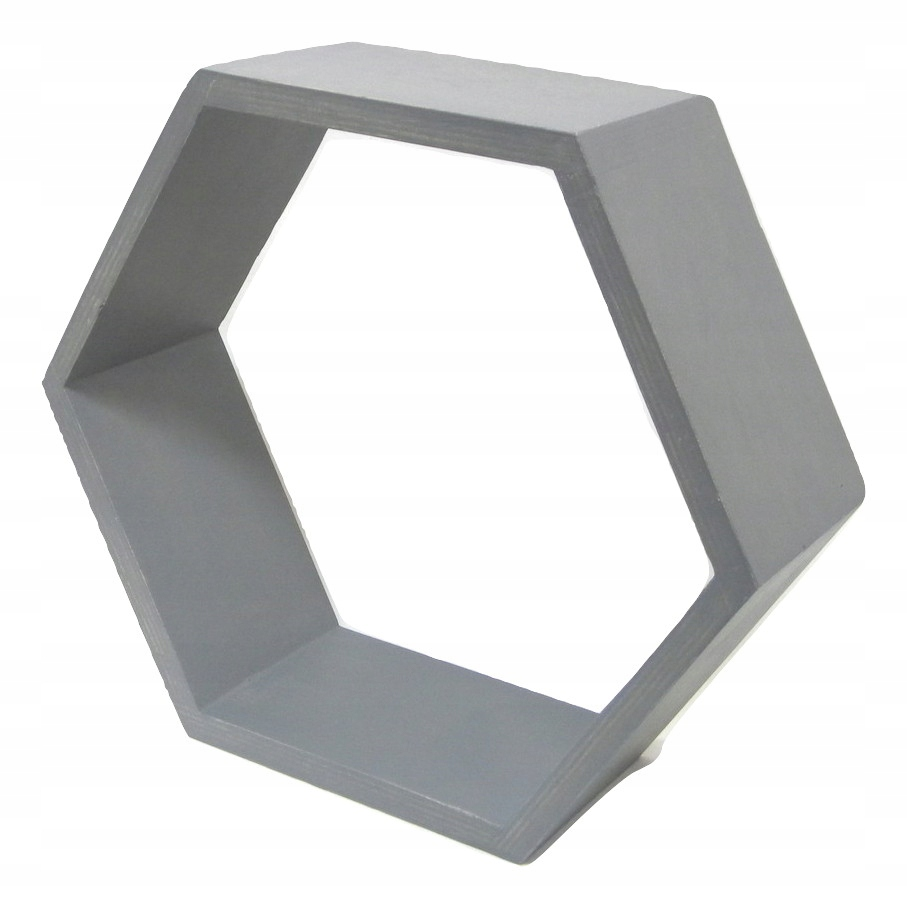 Drewniana Półka Plaster Miodu Hexagon Ciemno Szara
