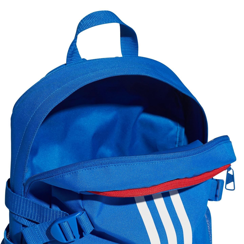 04ec5b41fb6d9 Średniej wielkości plecak ma ergonomiczne szelki z wygodnej, przewiewnej  siateczki. 3 paski z przodu nadają mu charakterystyczny styl adidas, ...