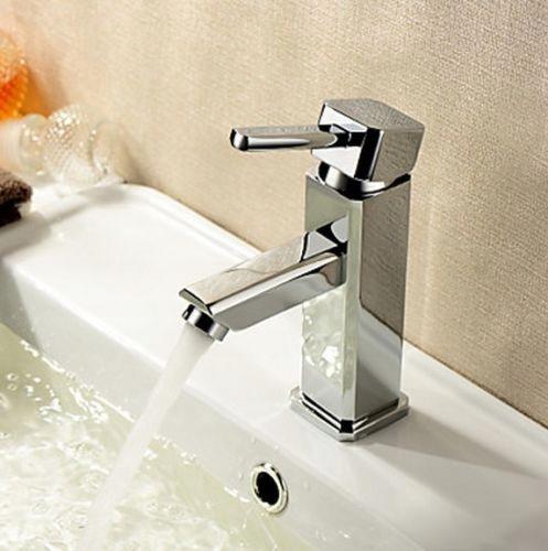 Bateria umywalkowa chromowana Vigo Cubic na umywalce z boku 2