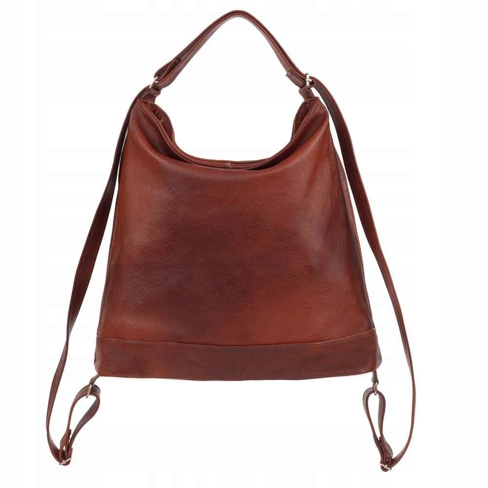 a15193bc0bf33 Polska brązowa palony brąz   koniakowa modna skórzana torebka XL miękka  SKÓRA NATURALNA worek plecak