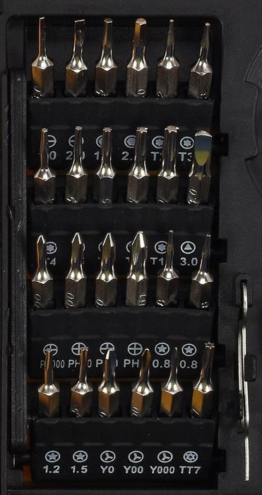 79a14f5a11e0b1 ... 24 końcówki, w tym wkrętaki pasujące do popularnych modeli smartfonów  (torx, płaskie, krzyżakowe). Zastosowanie. Zestaw do naprawy telefonów  komórkowych