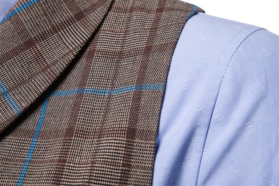 Męska kamizelka elegancka krata do koszuli biznesowy weselny  6DG6g