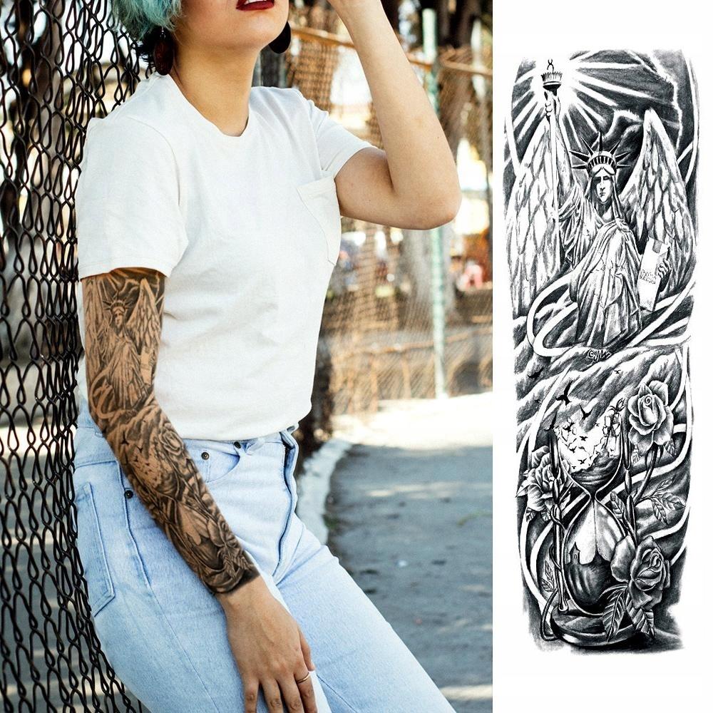 R30 Tatuaż Zmywalny Tymczasowy Rękaw Statua Anioł