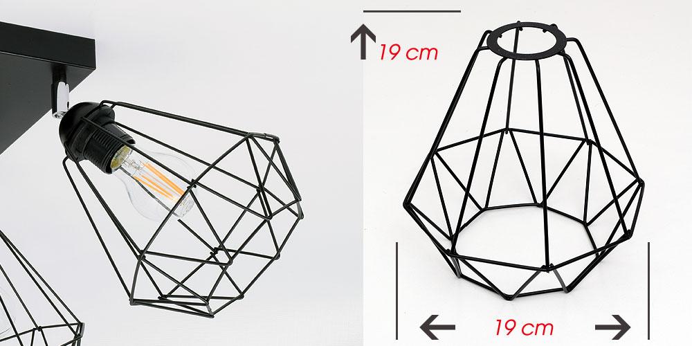 Stylowa lampa sufitowa serii Kali TYP:1204, 4 abażury druciak
