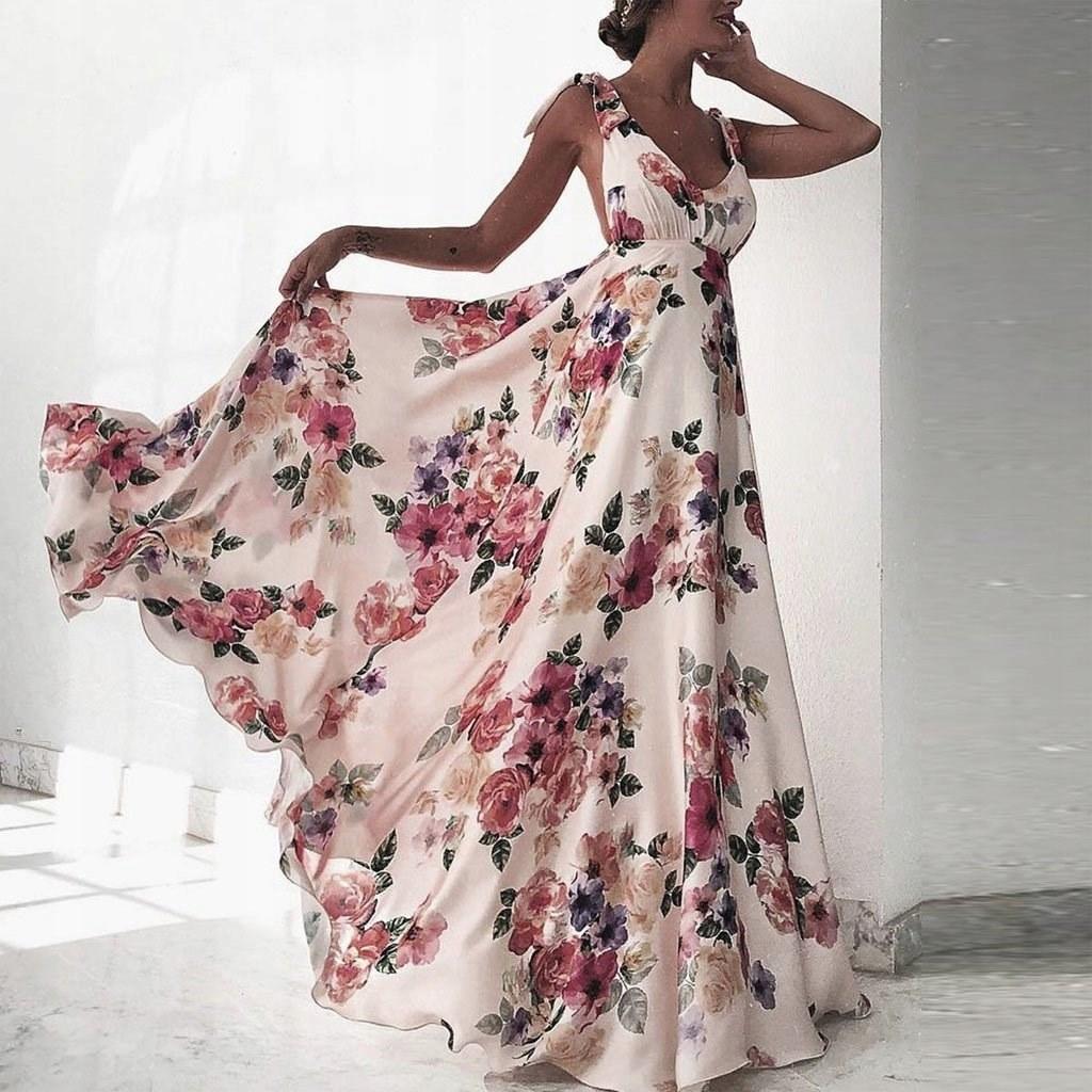 b8763ec94f Suknia w kwiaty długa rozkloszowana maxi MODNA S MODITO