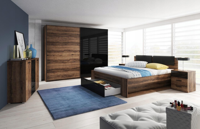 Sypialnia Galax Szafa Stoliki łóżko Materac