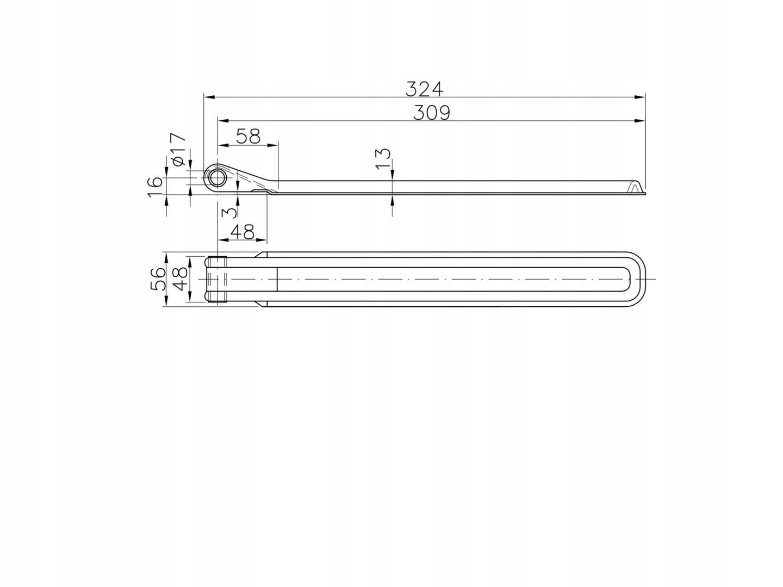Zawias burtowy do burt burta aluminiowa 320mm 32cm A504